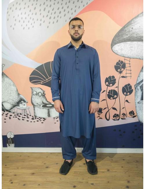 Shalwar Kameez - Double Blue Stitching