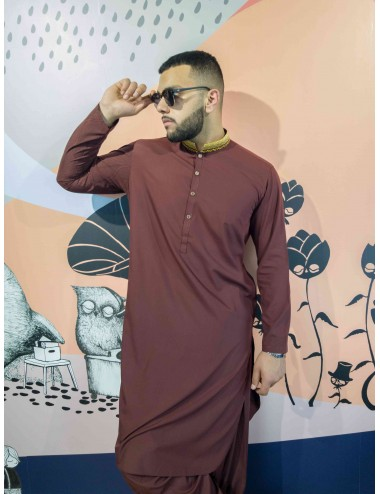Shalwar Kameez - Maroon/Golden Strip