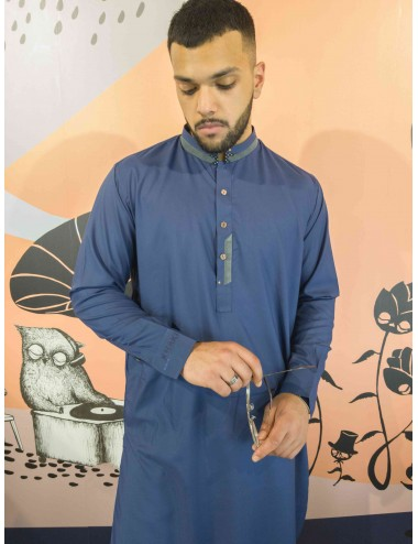 Shalwar Kameez - Blue/Grey Collar