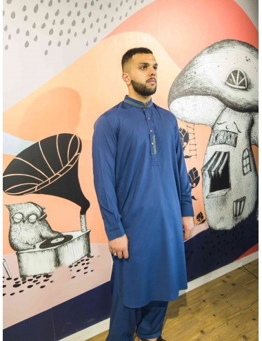 Shalwar Kameez - Blue/Grey Collar