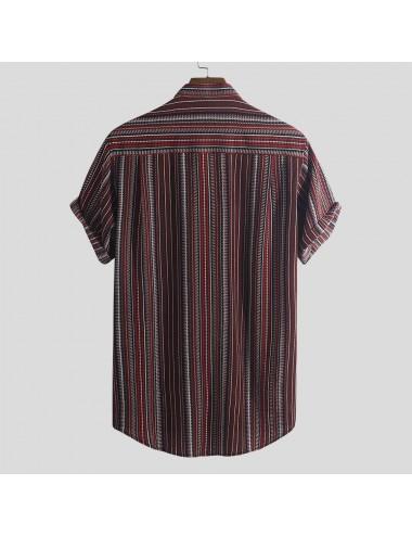 Striped Buttons Fly Summer Shirt